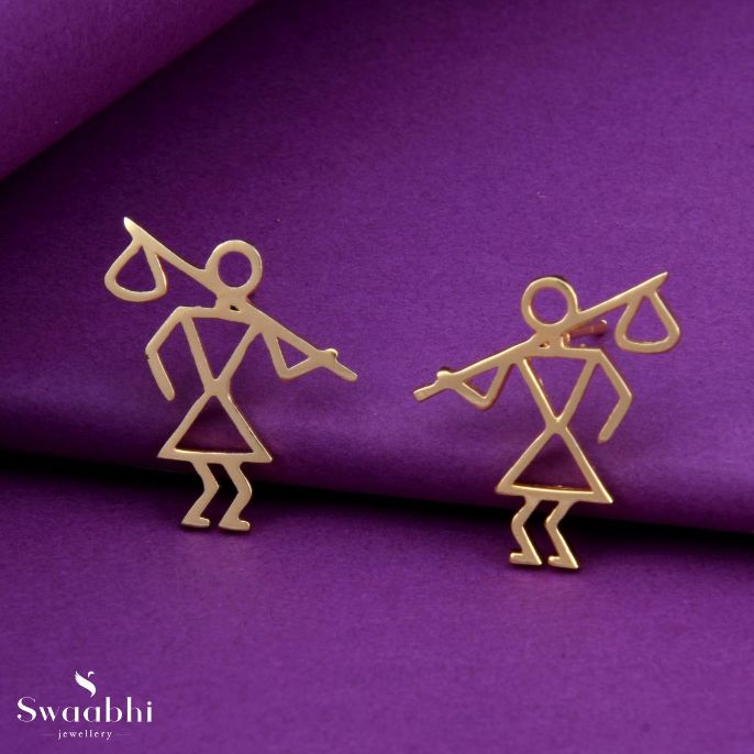 Krushi Gold Earrings Warli Design 1 1
